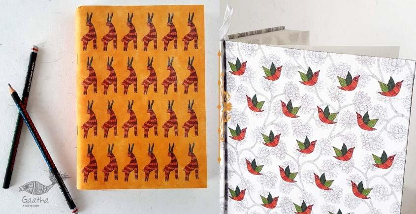 shop online Recycled Handmade Paper Gond Motif Hardbound Diary - Birds & Orange Deer ( Set of 2 )