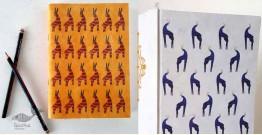 Daak ⚘  Gond Motif Hardbound Diary - Blue Deer & Orange Deer ( Set of 2 )