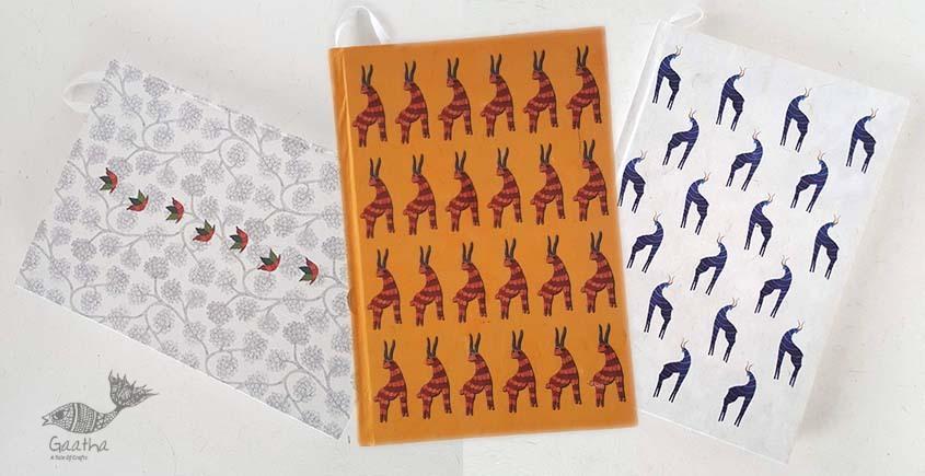 shop online Recycled Handmade Paper Gond Motif Hardbound Diary - Birds, Blue Deer & Orange Deer ( Set of 3 )
