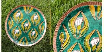 """Ekibeki ❋ Copper Enamel Wall Plate Green - Wildflower (Options - S(8""""), M(10""""), L(12"""") ) ❋ 18"""