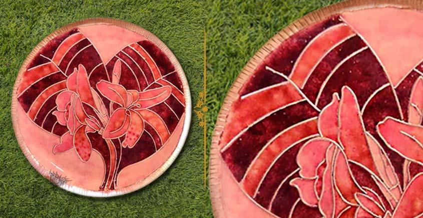 shop Copper Enamel Wall Plate Green Lotus Jali Copper Enamel Wall Plate Pastel - Canna
