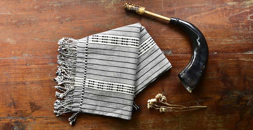 shop online nagaland loinloom cotton stole - in black & white