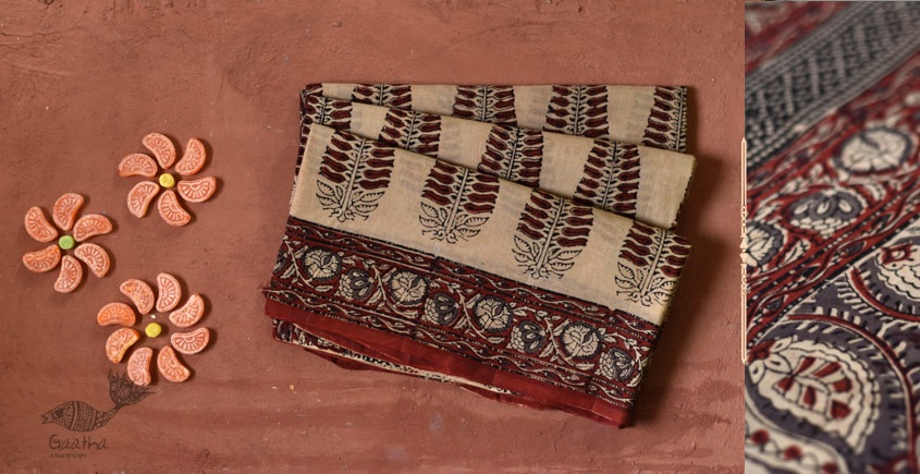 saudagar hand printed cotton saree ahmedabad