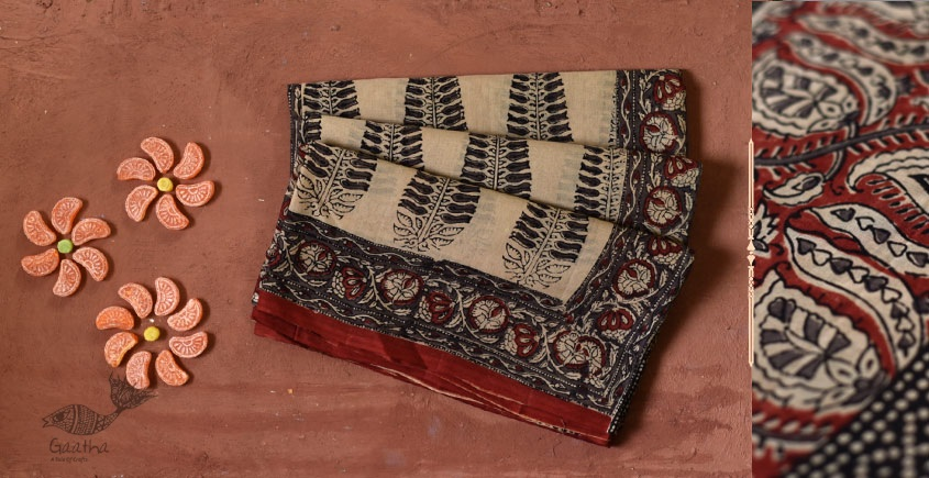Gujarati cotton block printed sari buy online