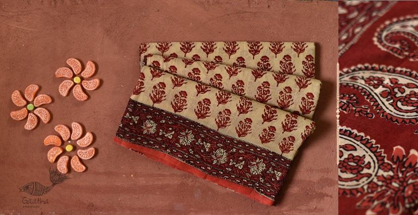 Natural color cotton block printed saree