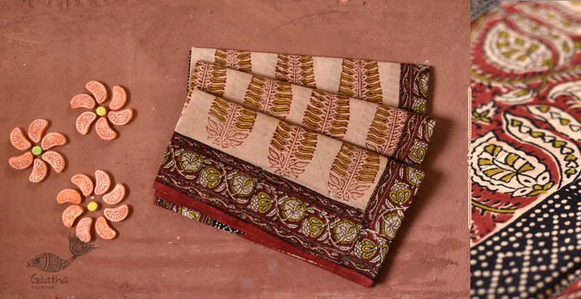 Gujarati cotton block printed red Saree