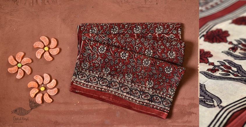 red white block printed saree
