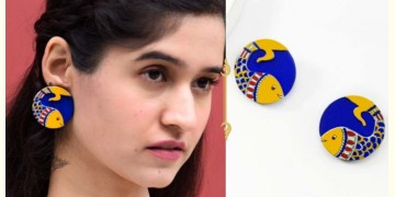 Fudakti ♥ Neelpari Madhubani Blue Yellow Handcrafted Wooden Earring  ♥ 10