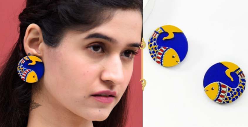Fudakti ♥ Neelpari Madhubani Blue Yellow Handcrafted Wooden Earring  ♥ 10