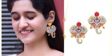 Fudakti ♥ Chhaya Madhubani Mustard Handmade Wooden Earring ♥ 12