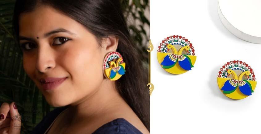 shop exclusive handmade wooden jewelry with madhubani art- Fish motif earring