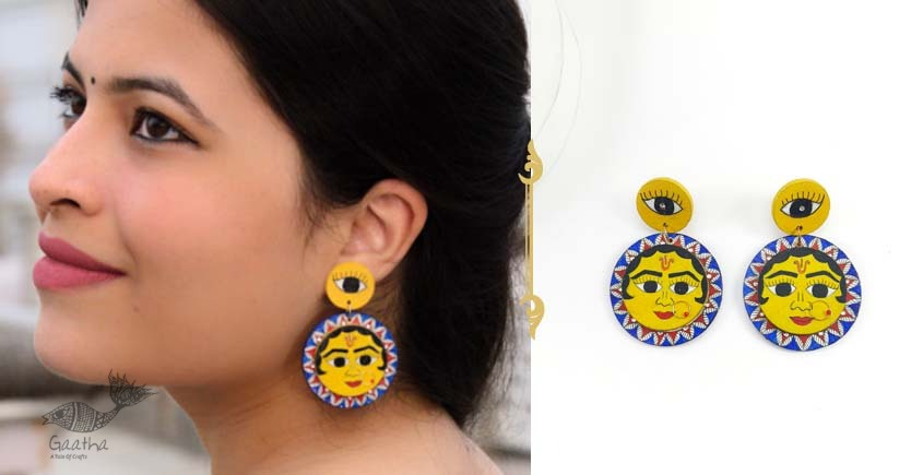 shop exclusive handmade wooden jewelry with madhubani art- Fish motif earring