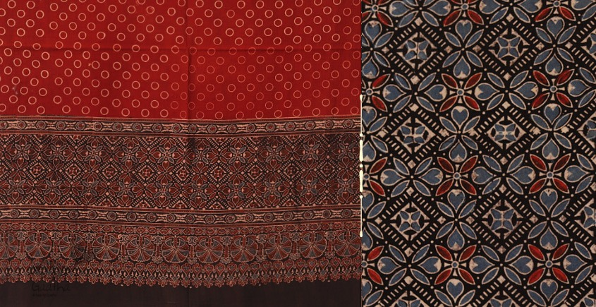 red and black dress material with dupatta