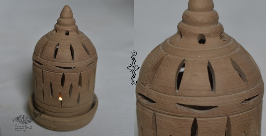 Terracotta Handmade Clay Designer candle stand