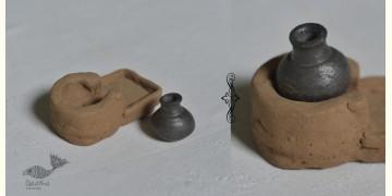Maati Ka Kaam ‡ Terracotta Miniature - Chulha + Matka  ‡ 6
