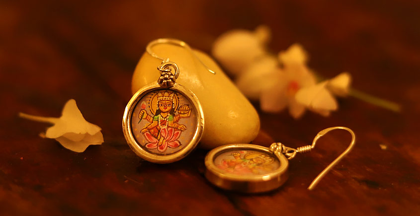 देवसेना * Miniature Painting . Earring * Lakshmi {A}