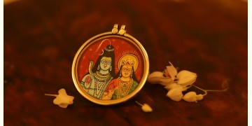 देवसेना * Miniature Painting . Pendant * Shiv Parvati {A}