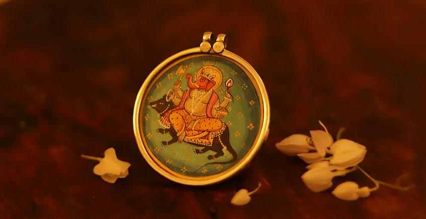 देवसेना * Miniature Painting . Pendant * Ganesha with Mushak