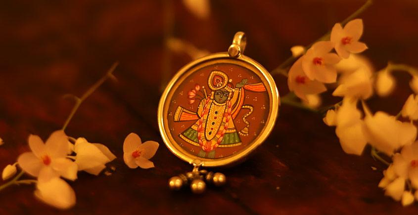 देवसेना * Miniature Painting . Pendant * Shrinathji {A}
