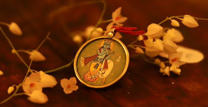 देवसेना * Miniature Painting . Pendant * Kanha