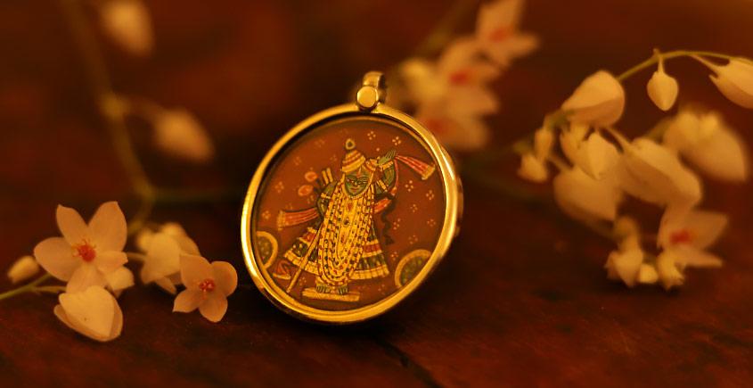 देवसेना * Miniature Painting . Pendant * Shrinathji {B}