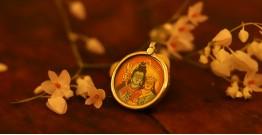 देवसेना * Miniature Painting . Pendant * Shivparvati {B}