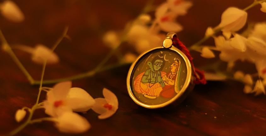 देवसेना * Miniature Painting . Pendant * Shivparvati {C}