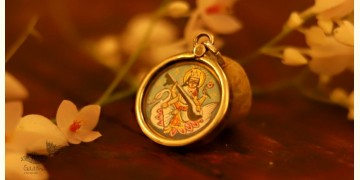 देवसेना * Miniature Painting . Pendant * Sarasvati (S-R)