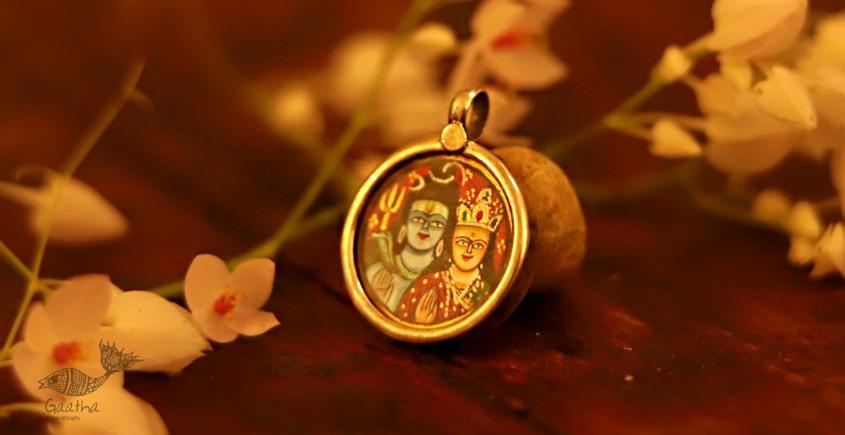 देवसेना * Miniature Painting . Pendant * Shivparvati {D}