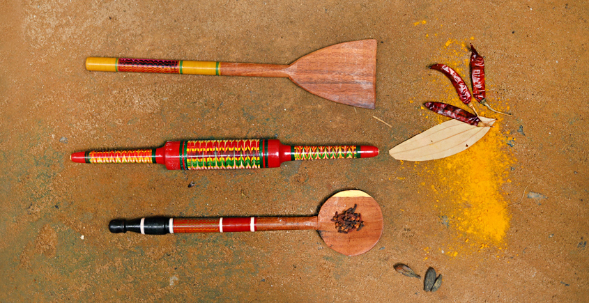 Rasoi ✼ Kutch lacquer ladles { Set of Three } 31