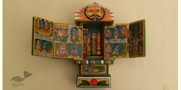 कथनिक ☀ Kaavad ~ A Wooden Shrine (Green - 20 cm) ~ 135