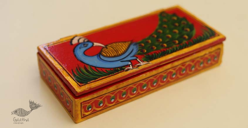 buy online pencil box, wooden storage box - Peacock painted