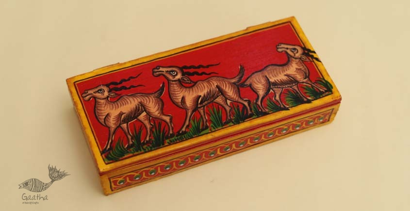 buy online pencil box, wooden storage box - Deer painted