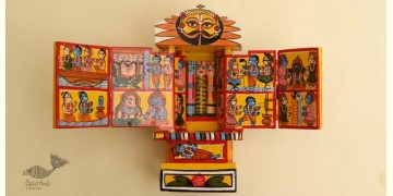 कथनिक ☀ Kaavad ~ A Wooden Shrine (Yellow - 20 cm) ~ 136