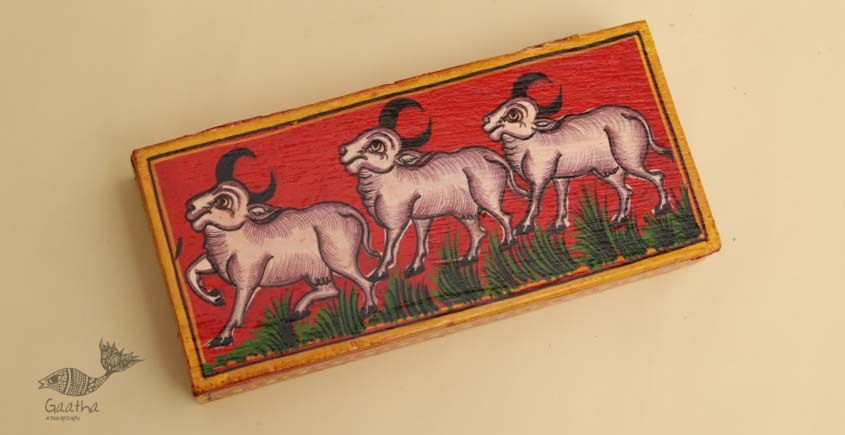 buy online pencil box, wooden storage box - Cow painted