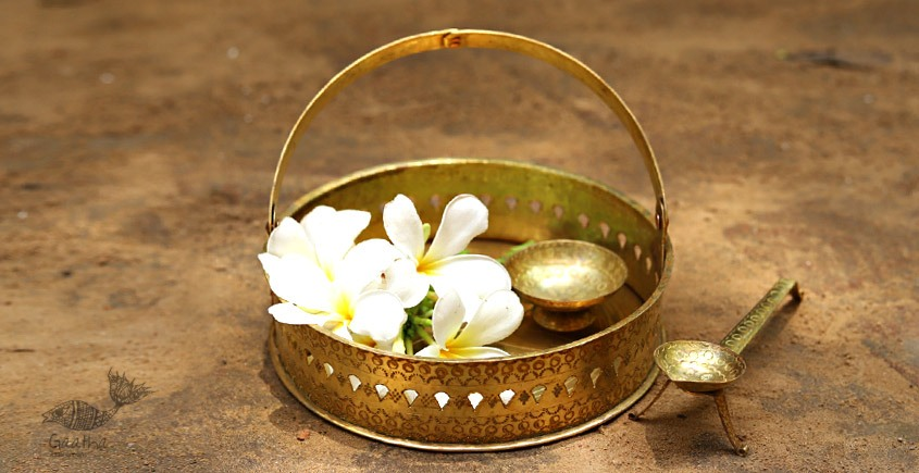 buy online brass flower Pooja basket with Diyas (Tokri)