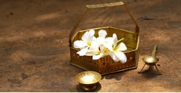"Ahar ✽ Brass ~ Flower Pooja Basket with Diya | Basket - 6.5"" x 6.5"" ( Set of Three ) - 2"