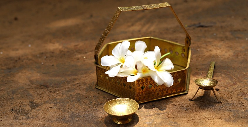 buy online brass flower Pooja basket with Diyas (Tokri) - brass