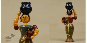 Etikoppaka ♡ Wooden Toy ♡ Mother & Child ( 19x9x4cm )