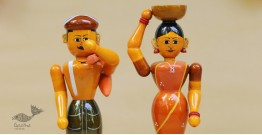Etikoppaka ♡ Wooden Toy ♡ Farmer Couple (Set of Two)