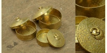 "Ahar ✽ Brass ~ Dabro-Medium { Biggest 4"" x 4"" x 2.7"" - Set of three }"