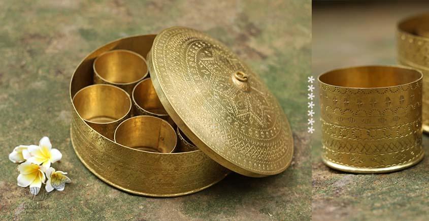 Ahar ✽ Brass ~ Spice Jar - Seven jars inside  (7.5 x 7.5 x 4 Big Masaldaan)