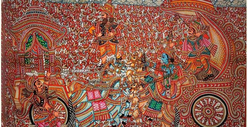 buy online leather painting - Karna Arjuna Yuddham  Painting