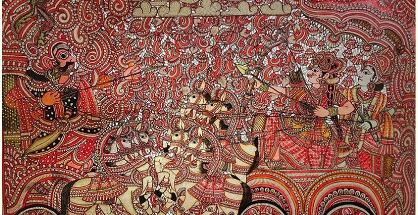 buy online leather painting - Narakasura Vodha Painting
