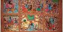 buy online leather painting - Sri Krishna Leela Painting-A