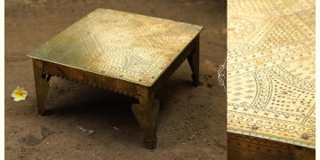 """Ahar ✽ Brass Sitting ~  Bajot / Pooja Chowki (12"""" x 12"""" x 6"""")"""