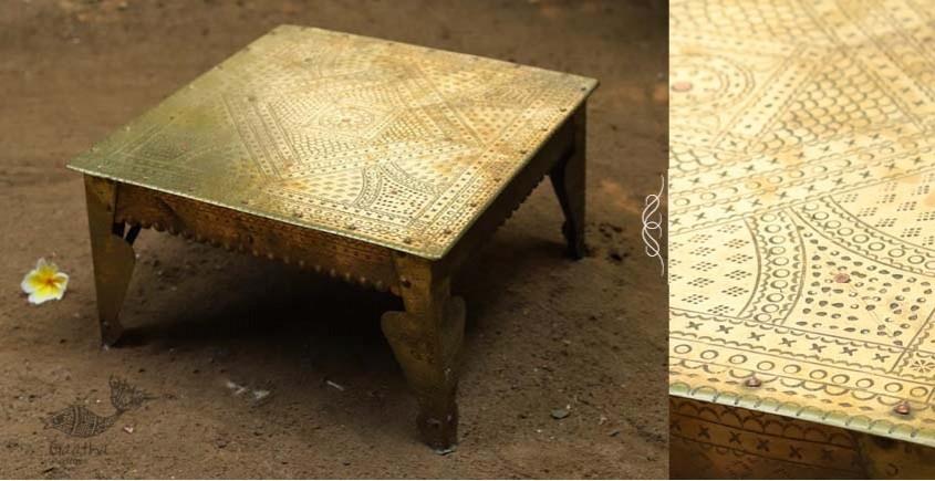Ahar ✽ Brass Sitting ~  Bajot / Pooja Chowki (12 x 12 x 6)