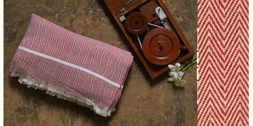Swavalamban ◉ Handwoven ◉ Cotton Bed Throw ◉  9  { Red }