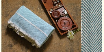 Swavalamban ◉ Handwoven ◉ Cotton Bed Throw ◉ 10 { Sky Blue }