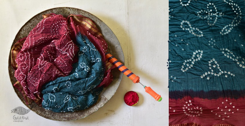 Faagun . फाल्गुन  ⁂ Cotton Bandhani Saree ⁂ 6